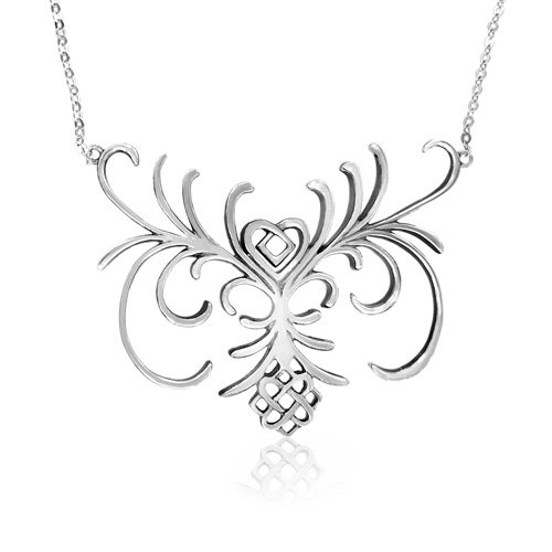 Sterling Silver Celtic Flowery Necklace, 20.5
