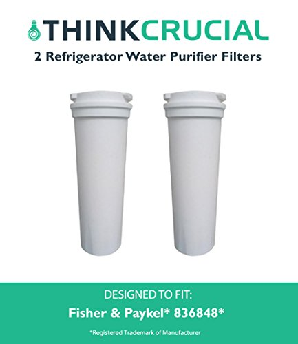 2 Fisher & Paykel, Part # 836848, Premium Filtration, Refrigerator Water Purifier Filter, Fits E402B, E442B, E522B & RF90A180DU, by Think Crucial