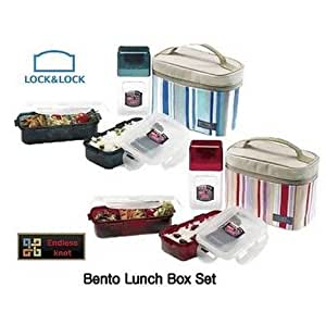 lock lock bento lunch box set with bottle insulated striped bag pink kitchen. Black Bedroom Furniture Sets. Home Design Ideas