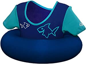 Swimways Swim Sweater - Pool Secure Flotation Jacket for Kids 2 - 4 Years, Blue/Teal with Sharks Design