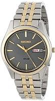 Seiko Men's SNE042 Two-Tone Solar Charcoal Dial Watch by Seiko