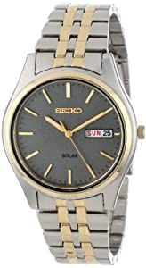 Seiko Men's SNE042 Two-Tone Solar Charcoal Dial Watch