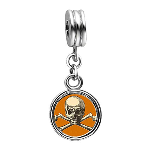 Fervent Love Halloween Skull Crossbones Photo Flower Dangle European Charm Bead