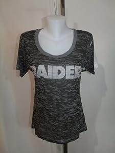 OAKLAND RAIDERS Ladies MEDIUM T-SHIRT CAMO STYLE BLACK GRAY NFL NWT!! by NFL
