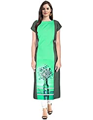 Janasya Women's Green Digital Printed Crepe Kurti