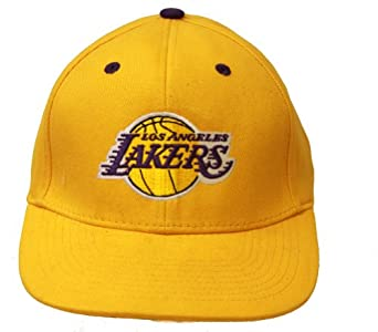 Los Angeles Lakers NBA Snapback Adjustable Hat, Yellow + GT Sweat Wristband by Team NBA