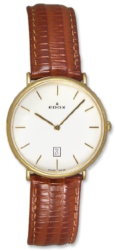 Edox Les Genevez Gold Tone Stainless Steel Mens Ultra Slim Watch 27016-37J-AID