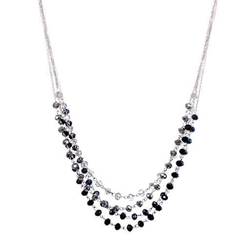 "C.A.K.E. By Ali Khan Necklace, 18"" Silver-Tone Black & Silver-Tone Bead 4 Row Necklace"