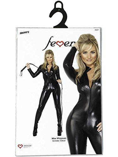 Fever Miss Whip Lash Catsuit Black Small by smiffys