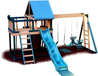 Monkey Playsystem Swing Set Green Package #1 front-643730