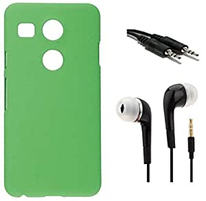 Tidel Green Matte Finish Rubbrised Slim Hard Back Cover For LG Nexux 5X With 3.5mm Handsfree Earphone & AUX CABLE