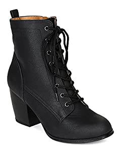 Qupid BG85 Women Distressed Leatherette Lace Up Chunky Stacked Heel Bootie - Black (Size: 7.0)