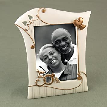 Golden 50th Anniversary Picture Frame in Ivory with Antique Gold Accents
