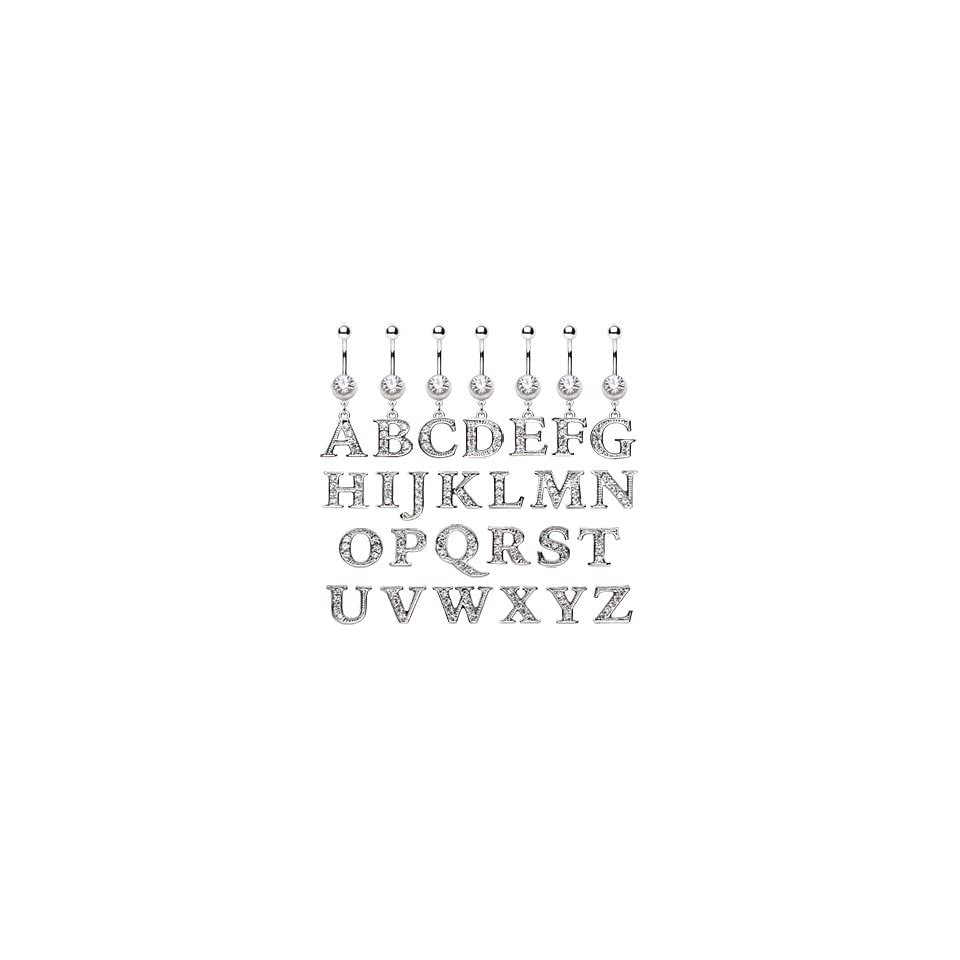 316L Surgical Stainless Steel Belly Button Ring Barbell with C Alphabet Letter Dangle with Clear CZs   14G (1.6mm)   3/8 (10mm) Bar Length   Sold Individually