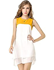 Binny Creation Women's Georgette White Yellow Western Tunic (Dress) (Cream Yellow Top_BC)