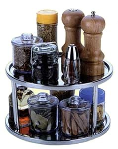 Two Tier Lazy Susan Turntable For Cabinet-Steel Stainless  6 H x 10 1 2 DiameterB0000E1VY2 : image