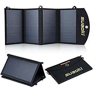 Suaoki Portabel 25W Solar Panel Phone Charger Dual USB Port Sunpower Mono-crystalline Charging with TIR-C Technology