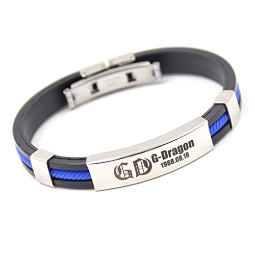 Kpop G-Dragon Bracelet Big Bang Silicone Bangle Titanium Steel Unisex Wirstband 1 pc (Big Bang Kpop Shirt compare prices)