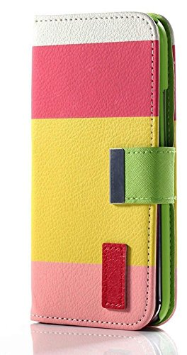 Mylife (Tm) Bright Yellow + Candy Pink And White Stripes {Modern Design} Faux Leather (Card, Cash And Id Holder + Magnetic Closing) Slim Wallet For The All-New Htc One M8 Android Smartphone - Aka, 2Nd Gen Htc One (External Textured Synthetic Leather With