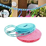 DFS's - 6 Meters extra large - Windproof Anti-Slip Clothesline Drying Nylon Rope with Hooks - For Home, Outdoor, Camping Uses - 1 Pc(Colors May Vary) + 3 months warranty