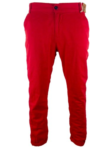Mens Bellfied Colour Chinos Red Fashion Trousers 28