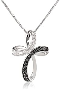 Sterling Silver 1/4cttw Black and White Diamond  Cross Pendant Necklace, 18