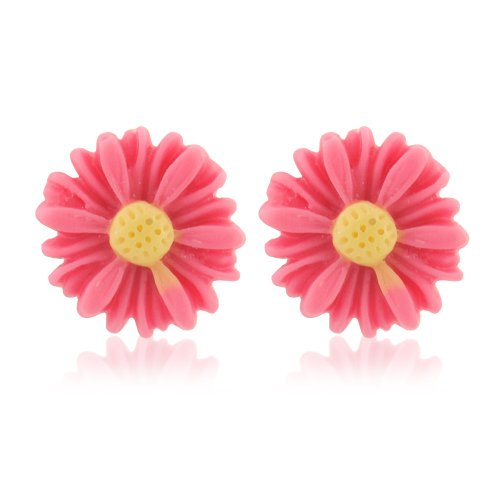 Pink flower earrings - perfect for women and children - also available in yellow - includes gift bag