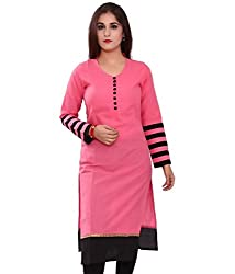 Clickedia Women's Cotton Kurti (012 Pink Kurta_Free Size_Red)