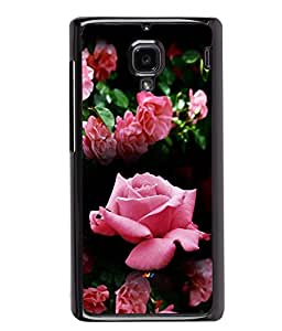 PRINTVISA Pink Roses Premium Metallic Insert Back Case Cover for Xiaomi Redmi 1S - D5825
