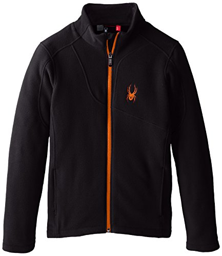 Spyder Boys Speed Full Zip Jacket, Medium, Black/Black/Bryte Orange