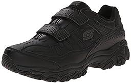 Skechers Sport Men\'s Afterburn Strike Memory Foam Velcro Sneaker, Black, 9.5 M US