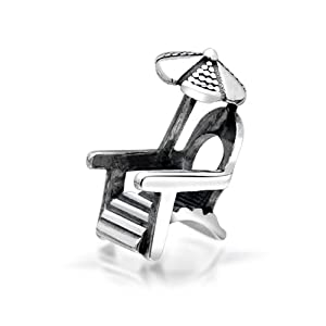 Bling Jewelry 925 Sterling Silver Beach Chair Umbrella Charm Fits Pandora Bead