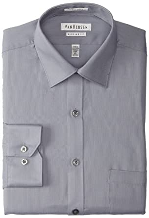Van Heusen Men's Regular Fit Pincord Dress Shirt, Gray, 18 34-35