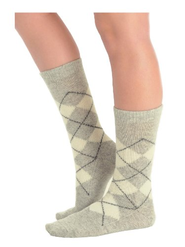 Womens Cashmere Blend Crew Socks Argyle Socks 9 Color Options Made In Usa Color:: Grey Heather front-997440