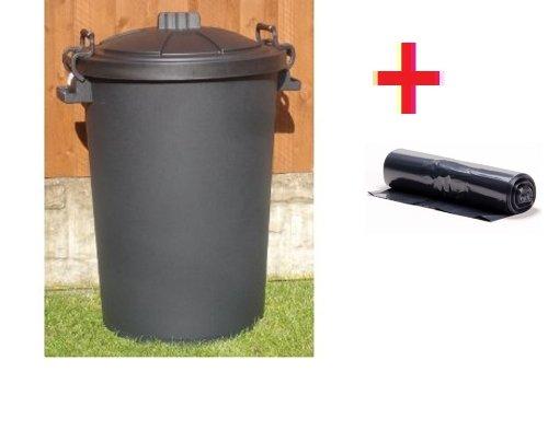 80/85 Litre black Dustbin/Bin + 20 BIN LINERS With Lockable Handles (made in the uk)