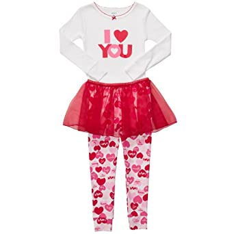 Carter's 3 Piece I Love You Valentines Tutu Pajama Set (3T)