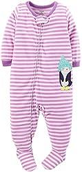 Carter's Little Girls' Striped Fleece Footie (Toddler/Kid) - Penguin