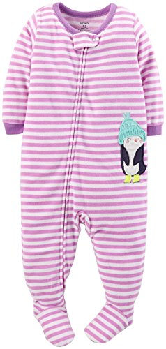 Carter'S Baby Girls' Striped Fleece Footie (Baby) - Penguin - 18 Months