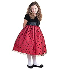 AkiDress Polka Dot Velvet and Tulle Dress For Big Girl & Flower Girl Red 2-10
