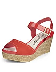 Peep Toe Wide Fit Ankle Strap Wedge Sandals