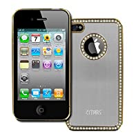 Empire Iphone 4S Hard Cover - Silver Brushed Metal With Luxury Rhinestones Stealth Hard Case Cover