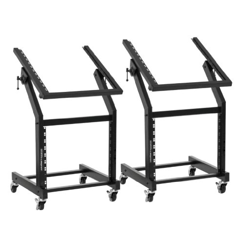 Ultimate Support JS-SRR100 Rolling Rack Stand - 12U-over-9U Rack on Casters - Angle-Adjustable for Convenience - 2 Pack