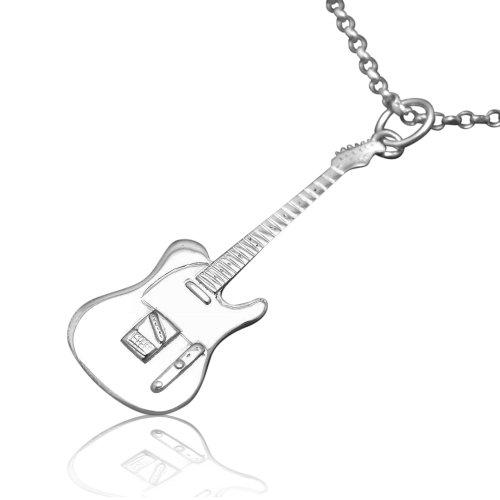 Fender-Telecaster-Miniatur-Gitarre-Sterlingsilber-Anhnger-Kette