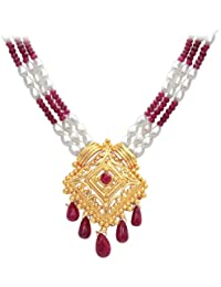 Surat Diamonds 3 Line Real Ruby, Rice Pearl   Gold Plated Pendant Necklace for Women available at Amazon for Rs.5076