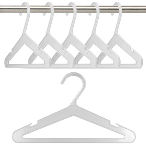 PACK OF 18 PLASTIC COAT HANGERS IN WHITE - For Baby & Toddler Clothes - 26cm wide