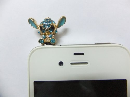 Dust Plug- Earphone Jack Accessories Crystel Lake Blue Disney Stitch / Cell Charms / Ear Jack For Iphone 4 4S / Ipad / Ipod Touch / Other 3.5Mm Ear Jack