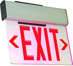 Westgate XE-1RCA-EM LED Edgelit Exit Sign, Red On Clear Panel - Aluminum Housing
