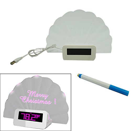 Novelty Shell Shape Led Message Board Table Digital Lcd Countdown Alarm Clock W/ Calendar Thermometer Display Pink