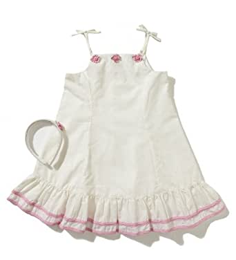 Little Bitty Eyelet Sundress with Rose Lace and ribbon Trim, 5