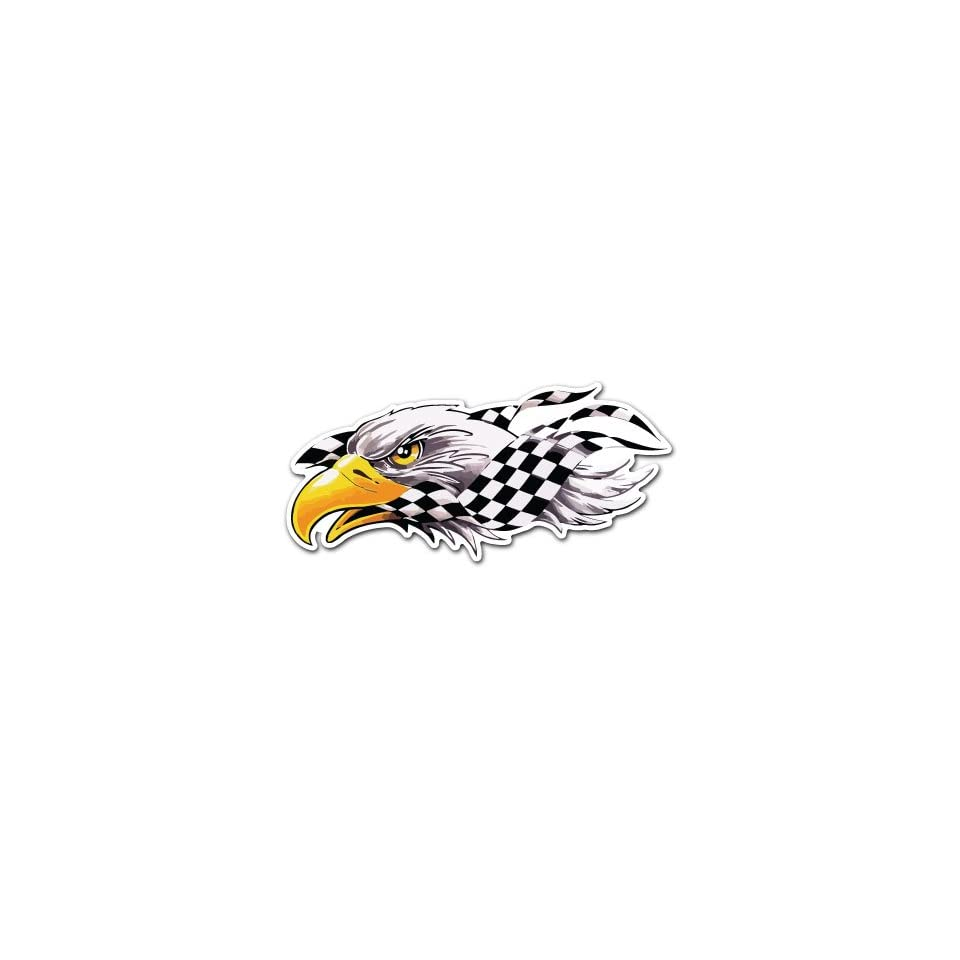 Eagle Bird Head Racing Flag Car Bumper Sticker Decal 7x3